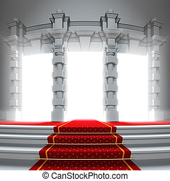 Red carpet way to the light portal. A 3d illustration of...