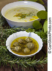 Artichoke hearths, asparagus soup