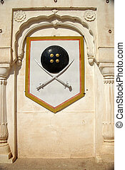 Blazon in Bikaner fort, Rajasthan - A blazon in the fort of...