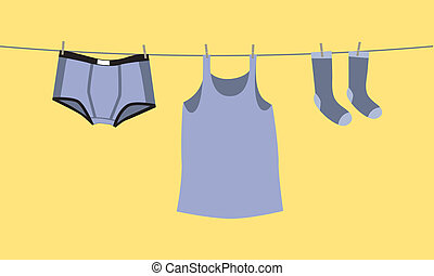 Mens underwear on a clothesline, fix by pegs - illustration
