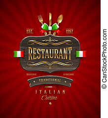 Wooden sign for Italian restaurant - Decorative vintage...