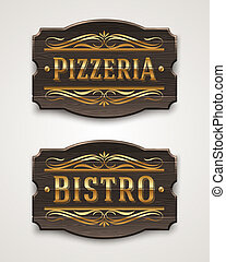 Signboard for pizzeria and bistro - Vintage wooden signs for...