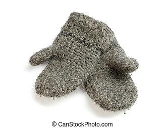 Mittens - Pair of handmade mittens on white ground