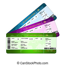 boarding pass tickets over white - fan of boarding pass...