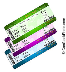 boarding pass tickets isolated over white