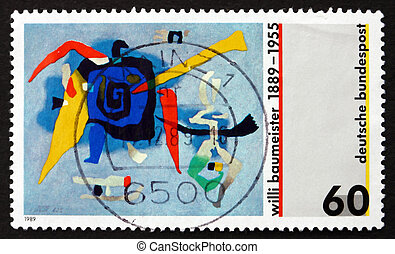 Postage stamp Germany 1989 Bluxao I, by Willi Baumeister -...