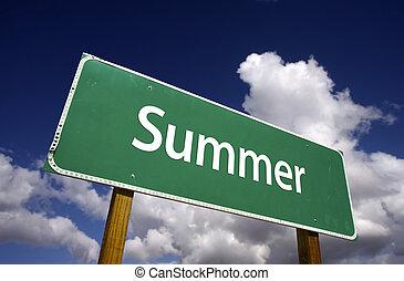 verão, estrada, sinal
