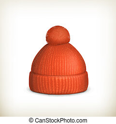 Knitted red cap, vector