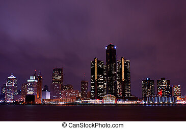Detroit Skyline from across the river in Windsor, Ontario