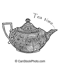 Tea time - Floral designed tea pot with on simple white...