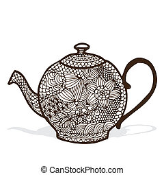 Tea pot - Illustration of tea pot with floral ornamented...