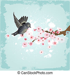 Cute bird on a background of cherry blossoms