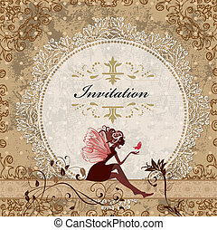 card design with vintage fairy