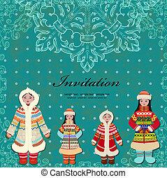 card design with vintage eskimo