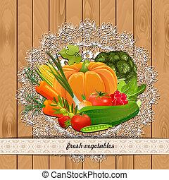 Årgång, grönsaken, Kollektion, frisk, din,  design