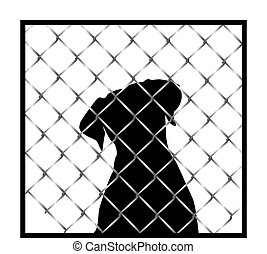 Dog silhouette in cage - Dog silhouette behind a cage...