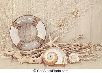 Life buoy decoration on white shabby background