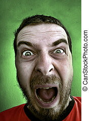 Completely shocked man - Portrait of shouting shocked man...