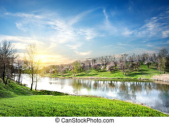 Spring landscape with river