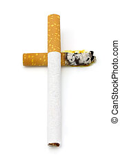 Smoking Kills - Smoking kills concept. Cigarettes over white...