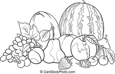 fruits group illustration for Coloring Book - Black and...