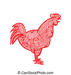rooster - Chinese zodiac - Red rooster with floral...