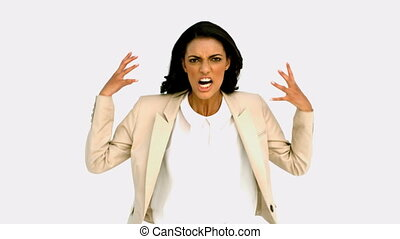 Businesswoman shouting with rage in slow motion