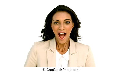 Businesswoman clapping with excitement in slow motion