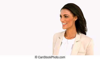 Businesswoman giving high five on white background in slow...