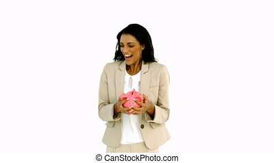 Businesswoman jumping and holding p