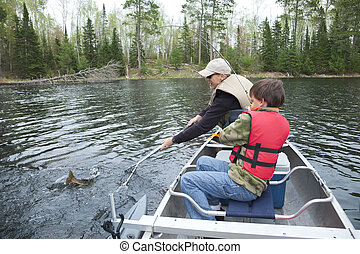 Young boy fisherman catches a walleye - A young fisherman in...