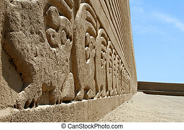 Chan Chan Friezes - Ancient frieze carvings at the site of...