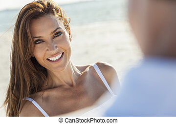 Middle Aged Man Woman Couple At Beach - Beautiful smiling...
