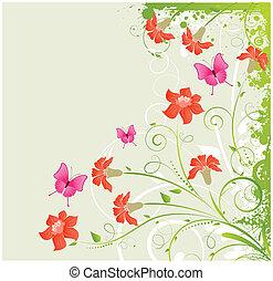 Grunge floral corner