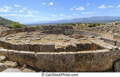 mycenae, antiguo, sitio, grecia