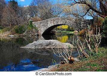 Quiet Moment at Gapstow Bridge, Central Park - Serene view...