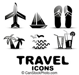 Black glossy travel icon set