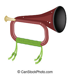 A Musical Bugle Isolated on White Background - Music...