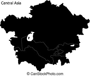 Black Central Asia - Black map of Central Asia divided by...