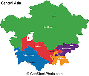 Central Asia map - Color map of Central Asia divided by the...