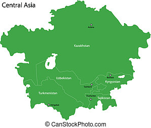Green Central Asia - Green map of Central Asia divided by...