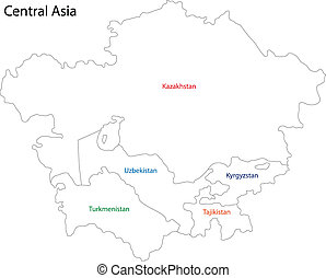 Outline Central Asia - Outline map of Central Asia divided...