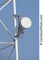 Microwave Antenna Dish - Microwave antenna dish on blue...