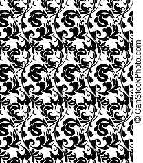 White seamless pattern, vector silhouette - Black seamless...