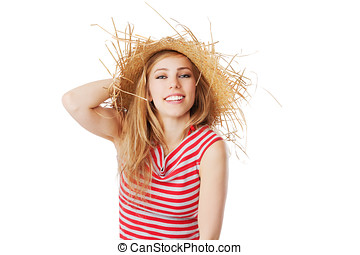 blonde girl with sunhat smiling into the camera isolated on white