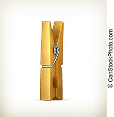 Wooden clothespin, vector