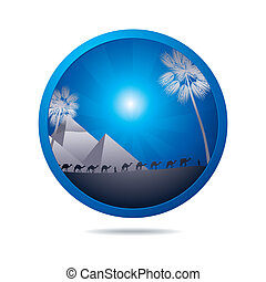 showplace icon - blue icon with dessert and pyramides in...