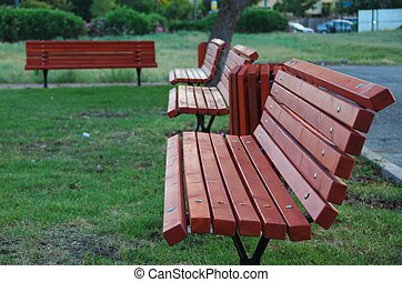 A row of park benches