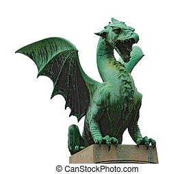 -, 隔離された, 像, ドラゴン