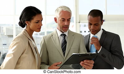 Businesspeople discussing and busin